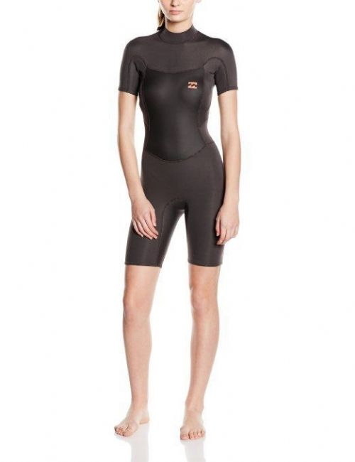 NEW BILLABONG WOMENS SYNERGY BACK ZIP SHORTIE BLACK SURFING WETSUIT W42G02/328